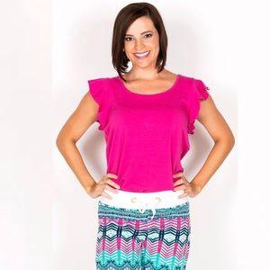 Tracy Negoshian Pink Kayla ruffle sleeve tank